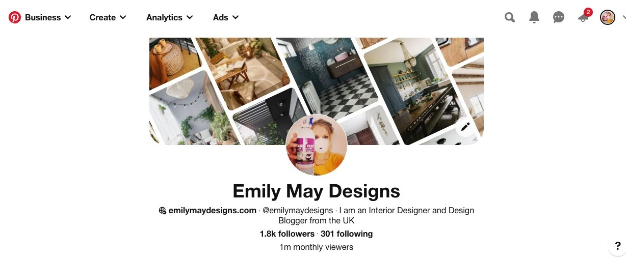 Pinterest Manager Pinterest account page