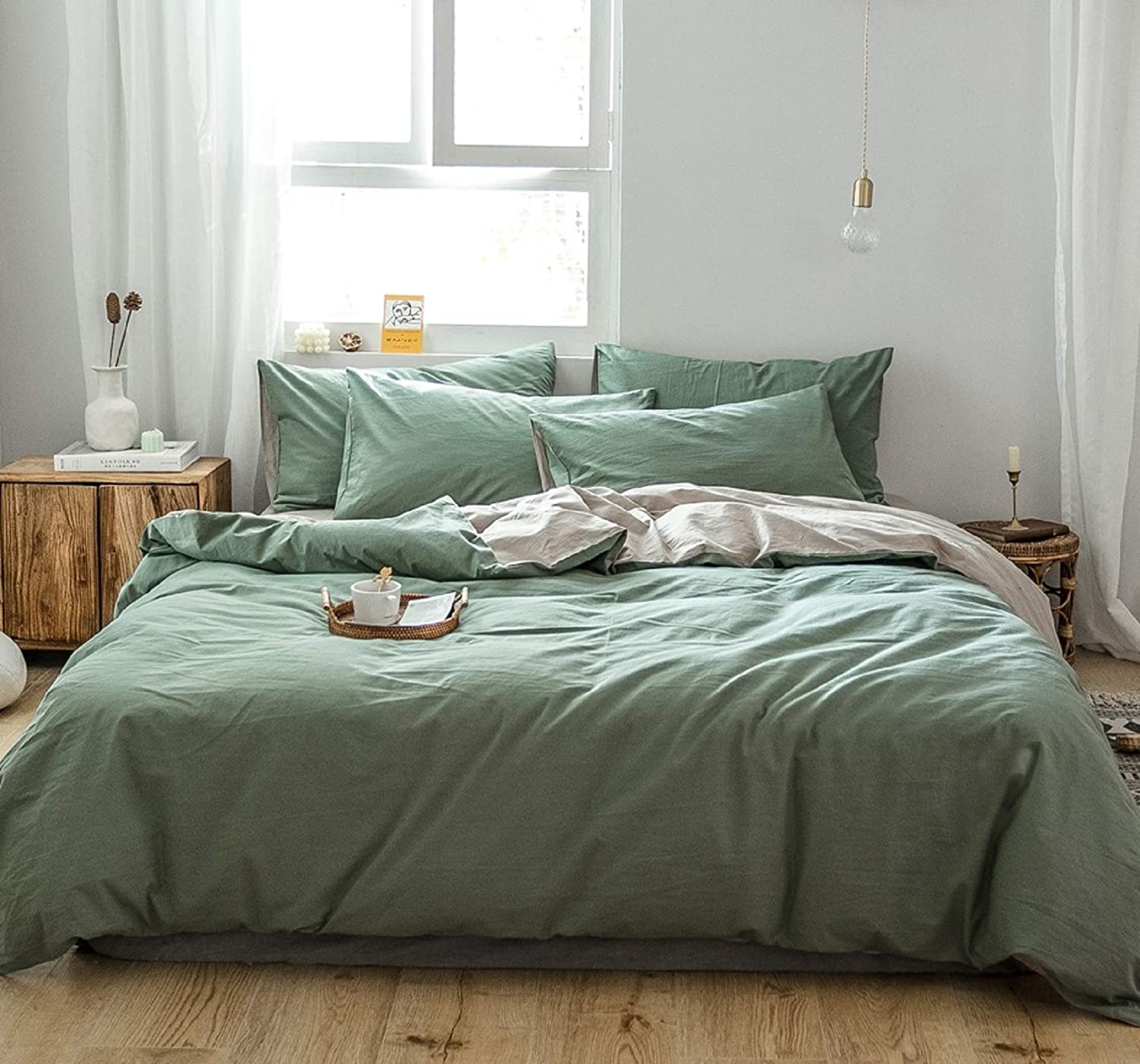 green washed cotton bedding