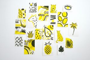 Statement wall art in yellow and grey